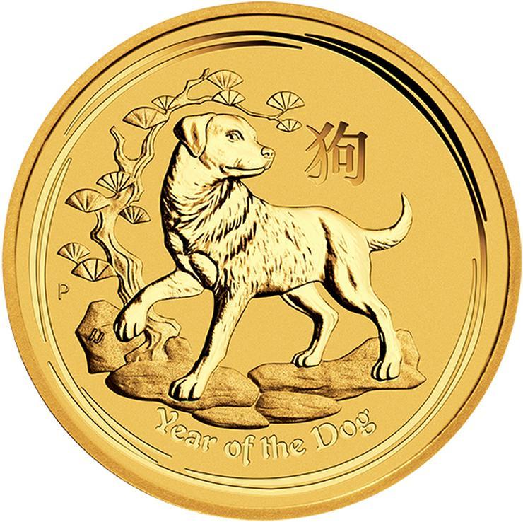Australien 1 Unze Goldmünze Hund  Lunar 2018 Gold