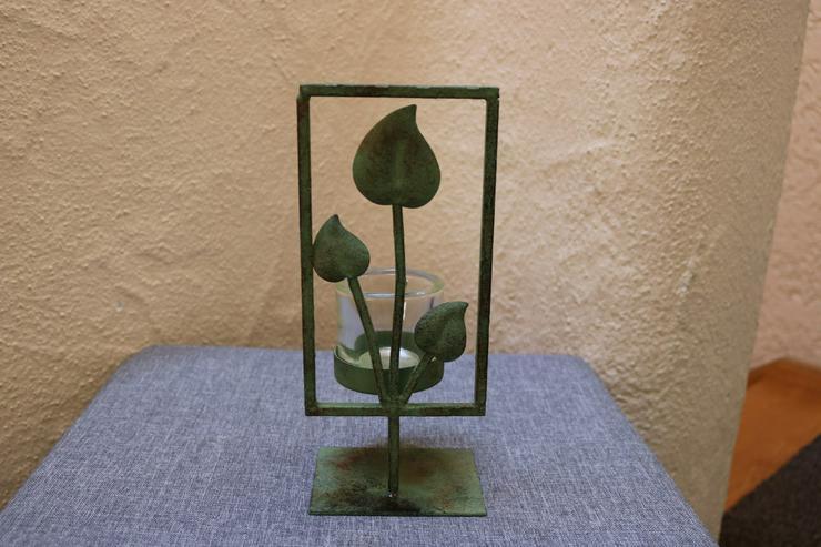 Teelicht-/Kerzenhalter, Metall, grün-antik
