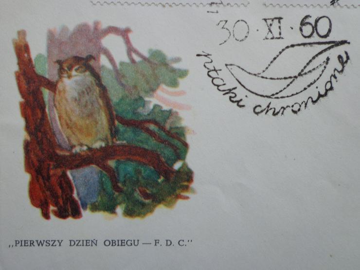 """Bild 5: FDC Ersttagsbrief Polen 1960 """"Geschützte Vögel in Polen"""" (Ptaki chronione w Polsce)"""