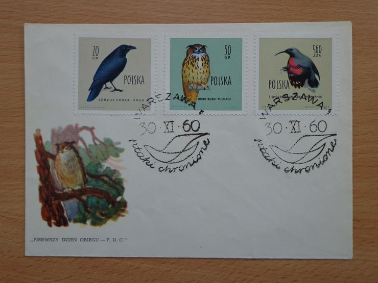 """FDC Ersttagsbrief Polen 1960 """"Geschützte Vögel in Polen"""" (Ptaki chronione w Polsce)"""
