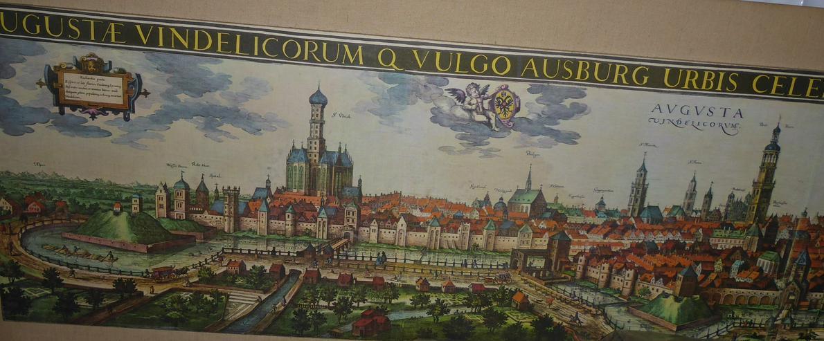 Bild 4: Große Stadtansicht von Augsburg im Mittelalter 2,05 m x 0,54 m original aus den 60-er Jahren