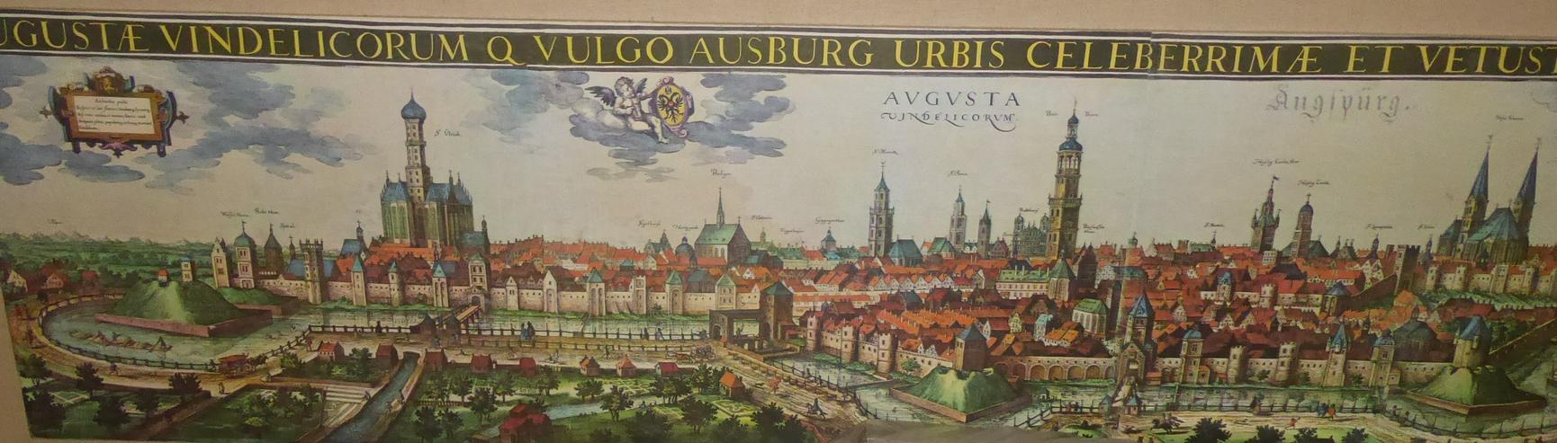 Große Stadtansicht von Augsburg im Mittelalter 2,05 m x 0,54 m original aus den 60-er Jahren