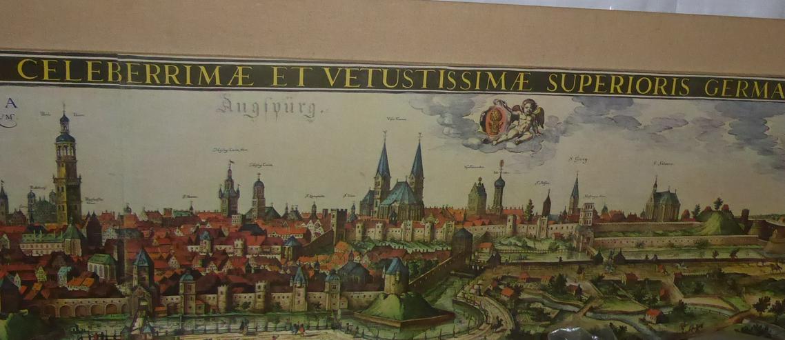 Bild 2: Große Stadtansicht von Augsburg im Mittelalter 2,05 m x 0,54 m original aus den 60-er Jahren