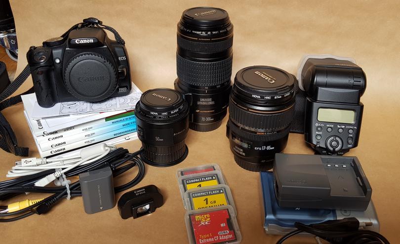 +++ Canon EOS 350D + Objektive + Blitz + Rucksack +++