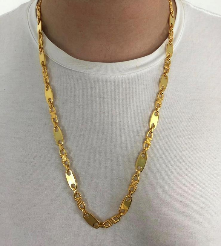 Plattenkette - 8mm breit x 60/65/70cm lang - silber 925 mit 18k Echtgold Vergoldung - Halsketten & Anhänger - Bild 1