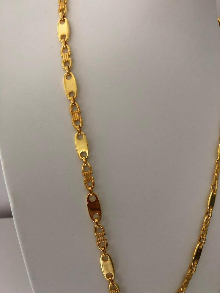 Bild 3: Plattenkette - 8mm breit x 60/65/70cm lang - silber 925 mit 18k Echtgold Vergoldung