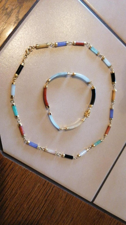 Verkaufe 925 halskette + armband mit Jade