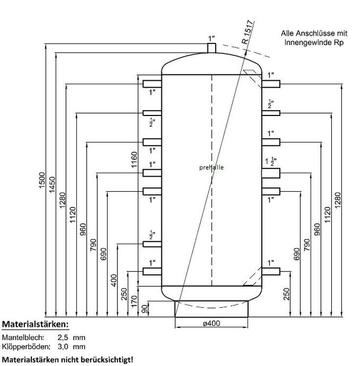 1A Pufferspeicher 300L Warmwasser Speicher für Heizung Kamin Ofen