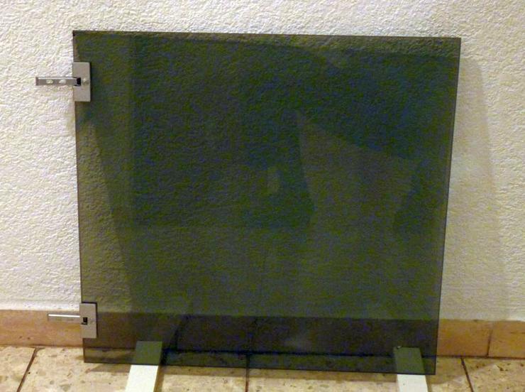 2 Rauchglastüren 48 x 45 cm, 5 mm dick, mit Scharnieren