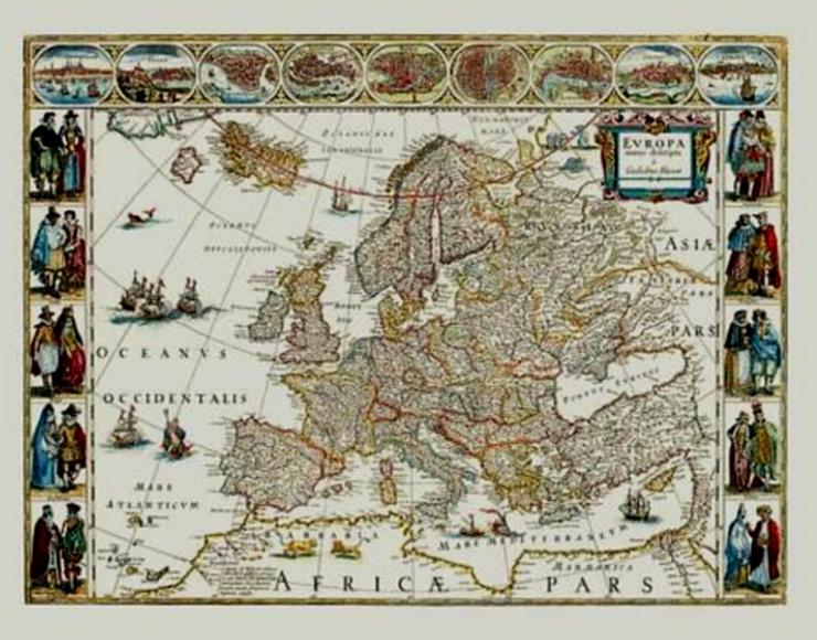 Historische Europakarte nach einem Kupferstich 1635 Blaeu | RAR UNIKAT