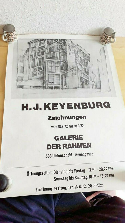 Bild 4: Strichzeichnung + Plakat Prof. H.J.Keyenburg, Lüdenscheid | RARITÄT 50 Jahre alt
