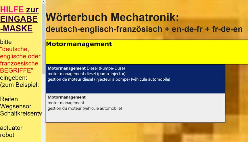 Bild 4: german-english-french translations/ glossary automotive
