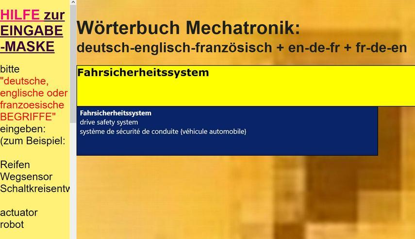 Bild 2: german-english-french translations/ glossary automotive
