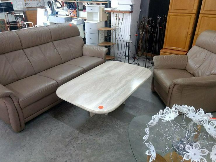 Sitzecke Leder, braun, Couch + Sessel