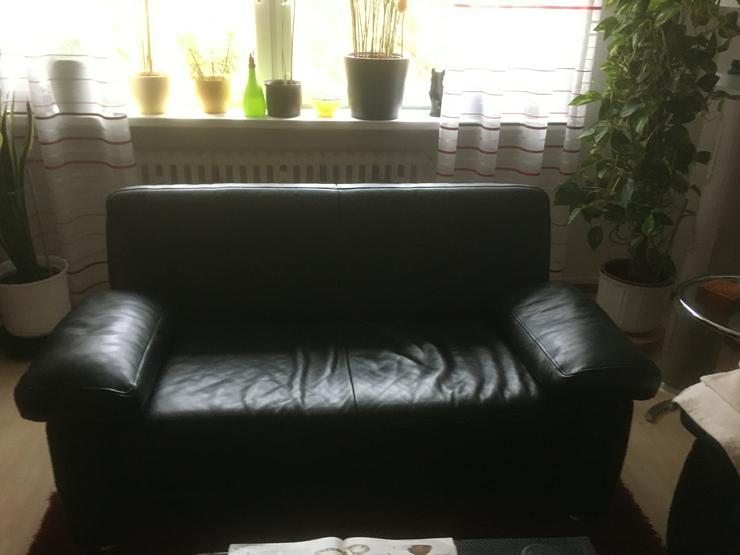 Schwarze moderne  Ledergarnitur, 3-Sitzer  2,00m  2-Sitzer 1,70 Breite