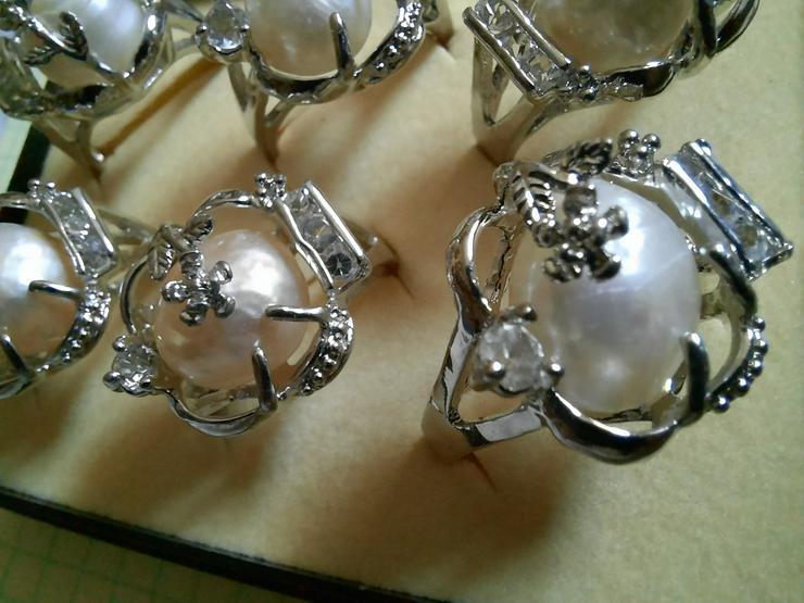 neue Ringe mit grosser echter Süsswasserperle  - Ringe - Bild 1