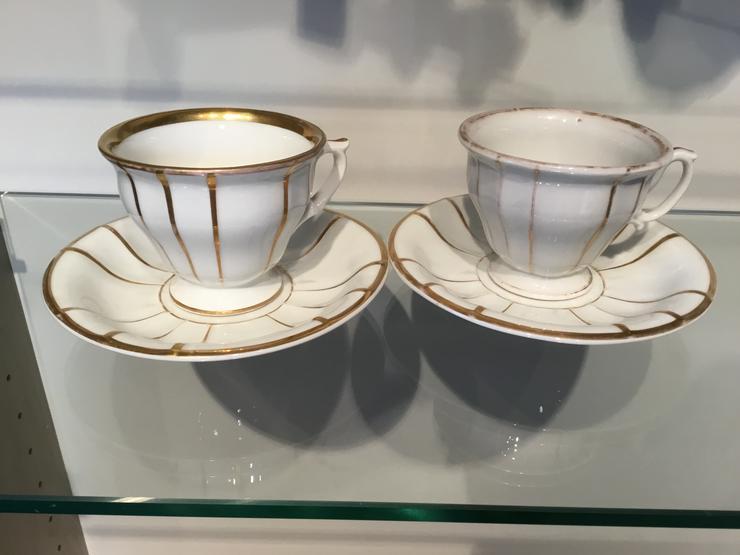 Bild 4: 2 alte Tassen mit Golddekor, Königliche Porzellan-Manufaktur Berlin Zeptermarke
