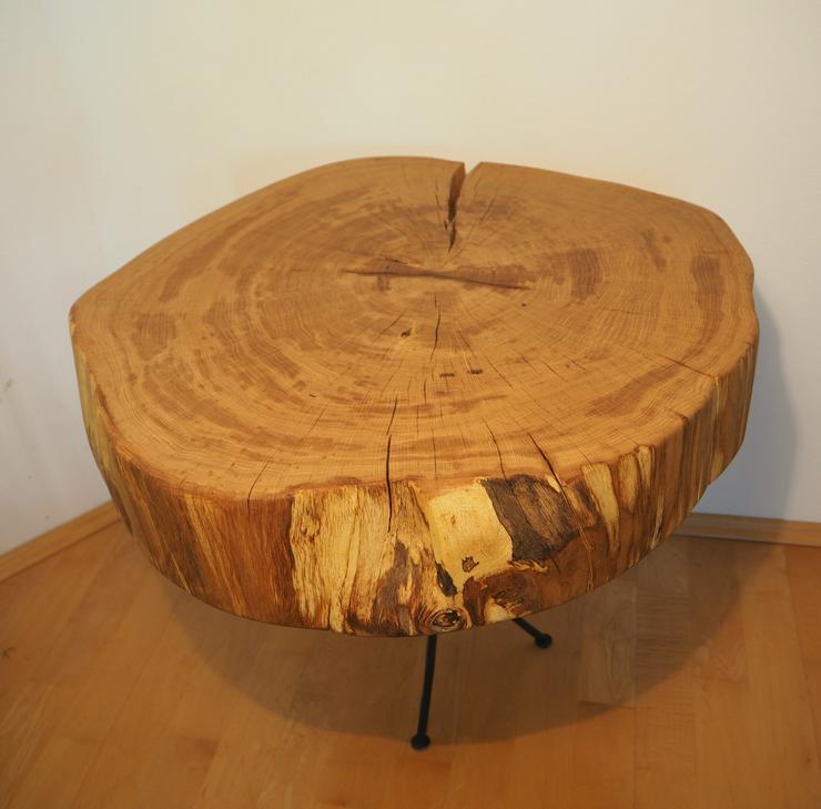 Baumschibe für Couchtisch Beistelltisch Gartentisch, Holzkunst, Tisch dm 56 cm, 11 cm dick, geölt