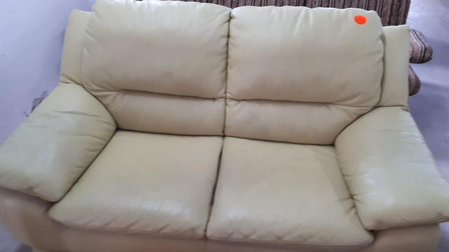 Ledercouch/Sofa für 2 Personen, beige