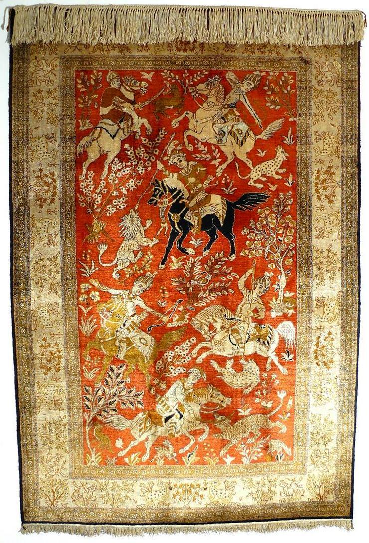 Orientteppich Ghom Seide auf Seide alt TOP (T044) - Fliesen & Teppiche - Bild 1