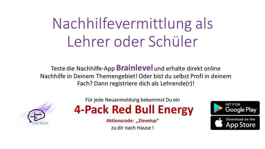 4-Pack Redbull für Neuanmeldungen! Nachhilfe Vermittlung Online