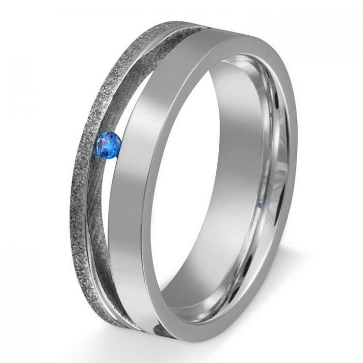 Edelstahl Ring mit Topas Stein Blau 1