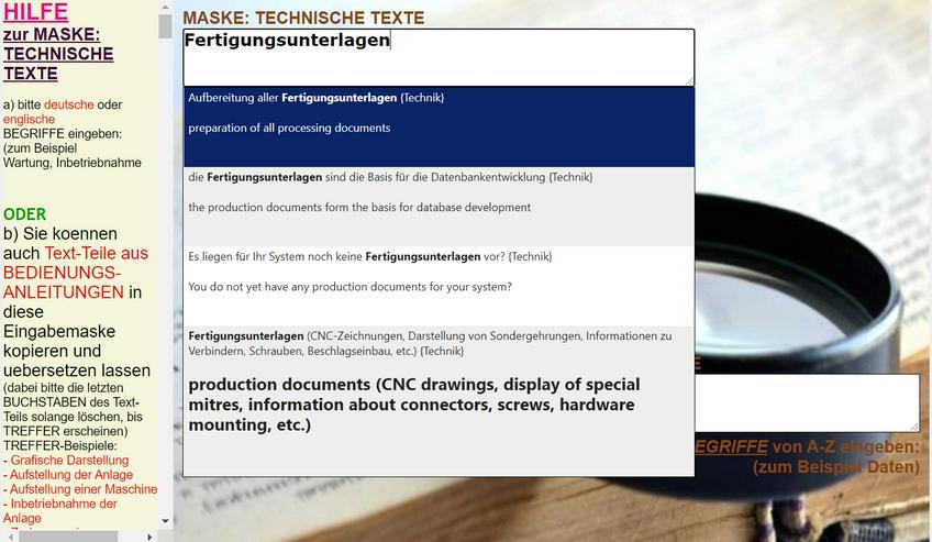 deutsch-english uebersetzen: Textprobe Satz Text