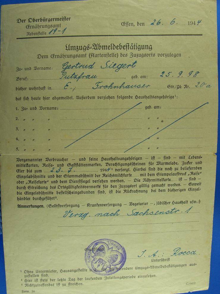 Umzugs-Abmeldebestätigung  1944