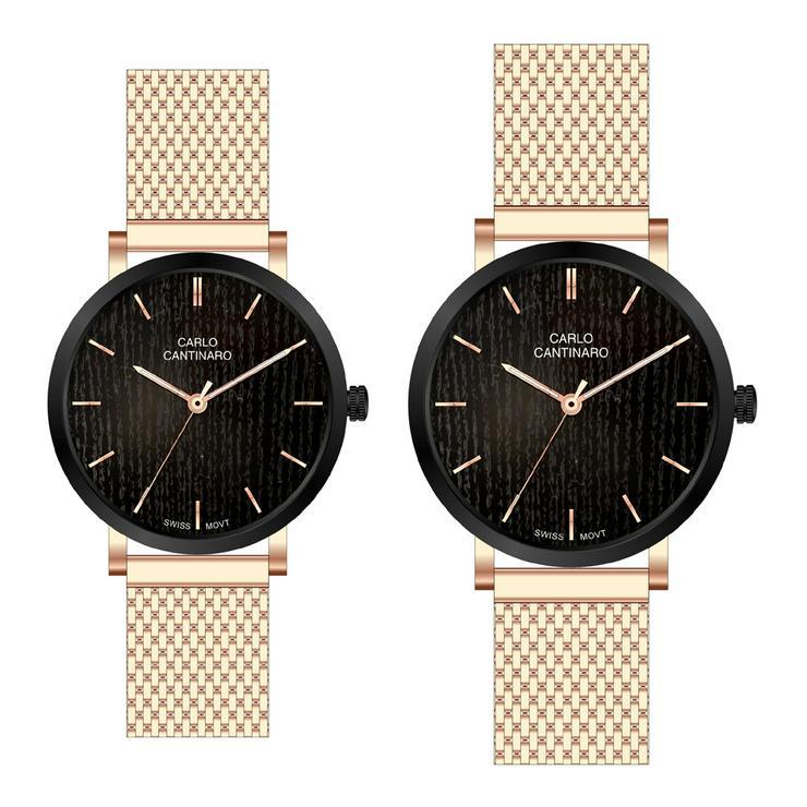 Carlo Cantinaro CC3001SM002 Partnerset Damenuhr Herrenuhr - Damen Armbanduhren - Bild 1