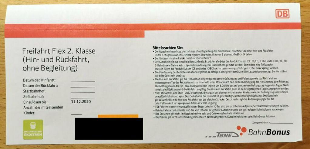 DB Bahn Freifahrt Flex 2. Klasse - Hin und Rückfahrt (bis 31.12.)