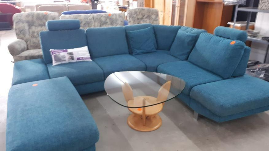 Große Sitzecke/Couch, Stoffbezug, blau