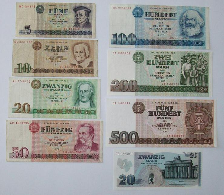 Satz Geldscheine DDR 5-10-20-50-100-200-500