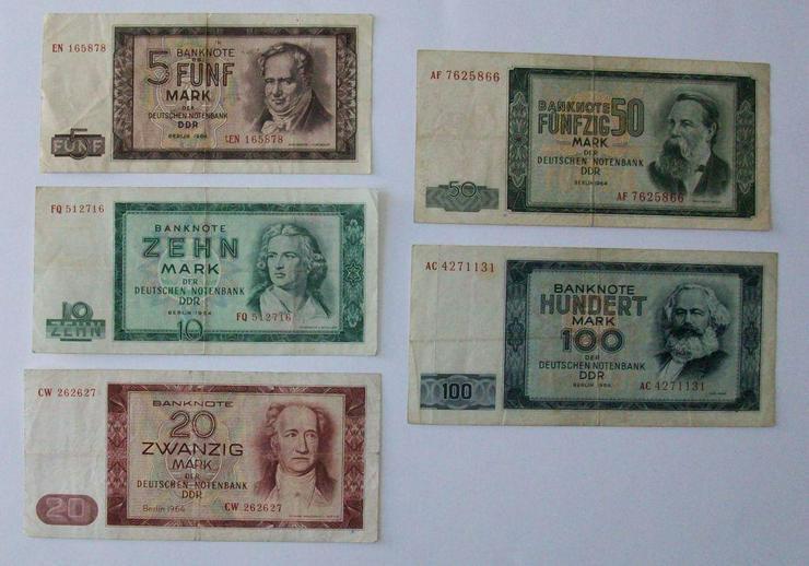 Sammlung Geldscheine Notenbak DDR 1964, komplett, 5-10-20-50-100 - Weitere - Bild 1