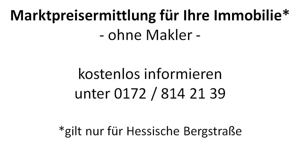 Marktpreisermittlung für Ihre Immobilie (nur für hessische Bergstraße)