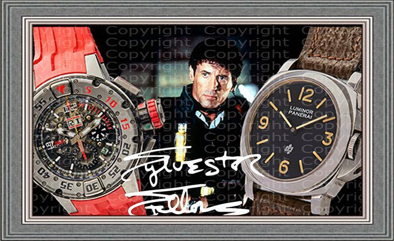 SYLVESTER STALLONE Uhren Collage. Seltenes Kunstwerk. Signiert. Makellos.