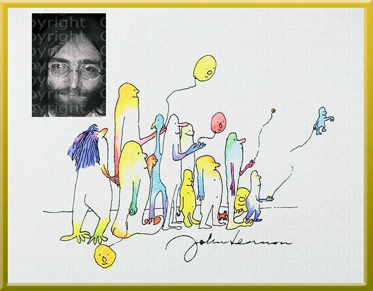 Kunstwerk JOHN LENNON Collage mit Selbstbildnis. Signiert. NEU!