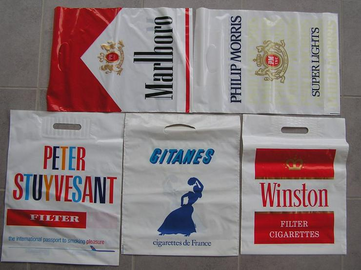 Tüte/Beutel Plastik f. Sammler Stuyvesant, Marlboro, Philip Morris, Gitanes, Winston - Plastiktüte - Kunststoffbeutel