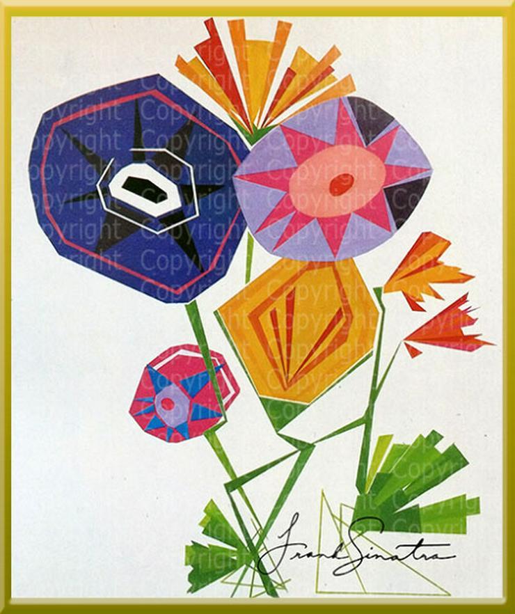 1989 Kunstwerk von F r a n k  S i n a t r a. Aquarell. Kunstdruck. Signiert. Superzustand.