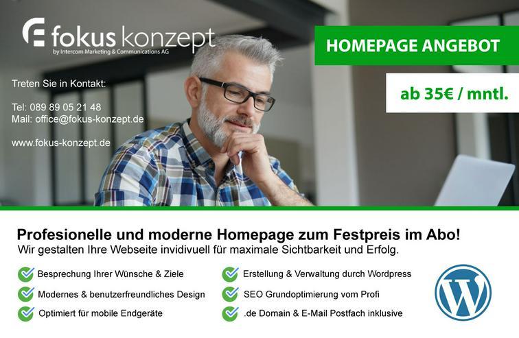 Homepage Erstellung zum Festpreis im Abo - Online Marketing Agentur München