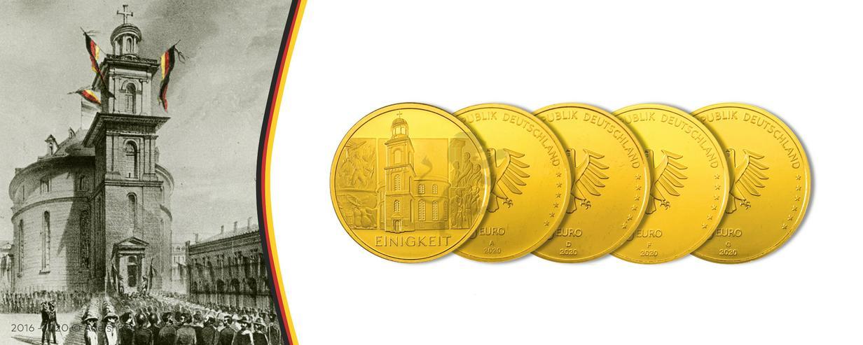 """BRD GOLDEURO  """"Säulen der Demokratie"""" 5 x 100 EURO EINIGKEIT 2020 SATZ"""
