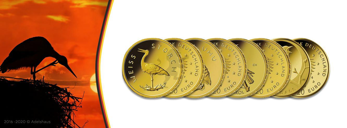 BRD Goldeuro Satz 5 x 20 Euro Heimische Vögel - Weißstorch 2020 SATZ