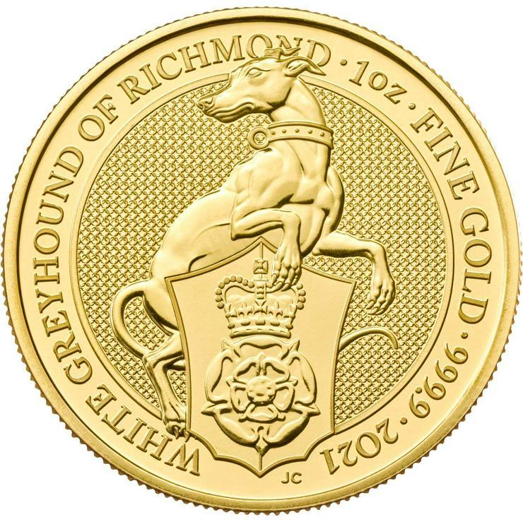 Bild 2: The Queens Beasts 2021 - White Greyhound of Richmond 1 Unze Gold