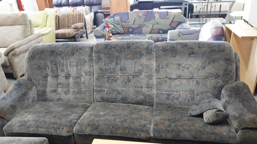 Couch/Sofa für 3 Personen + 2 Sessel, Stoff, grau gemustert