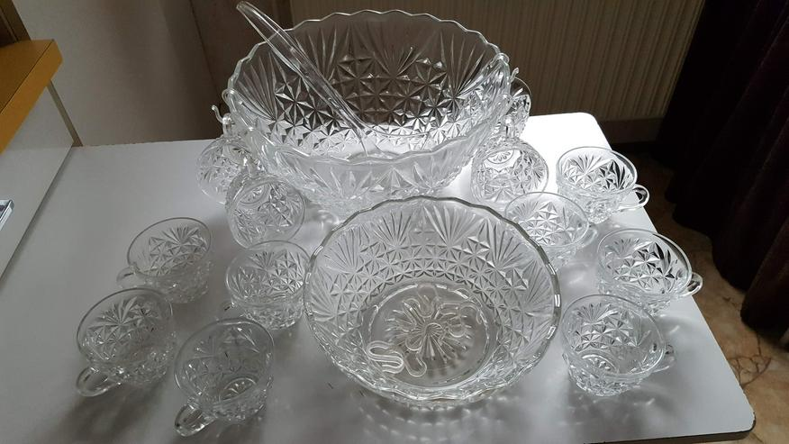 2 Kristall-Bowlen-Schüsseln mit 12 Gläsern
