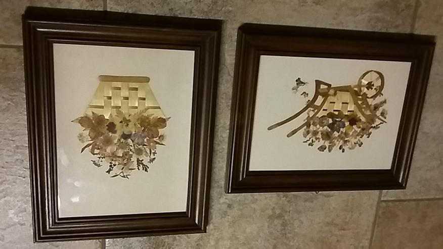 Bild 3: Stroh-Bilder, alt (2 Stck.) aus den 1970er-Jahren