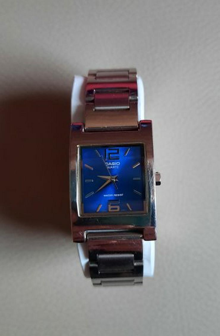 Casio LTP-1283 Damen Armbanduhr Edelstahl Analog Damenuhr Quarz Metallband eckig blau