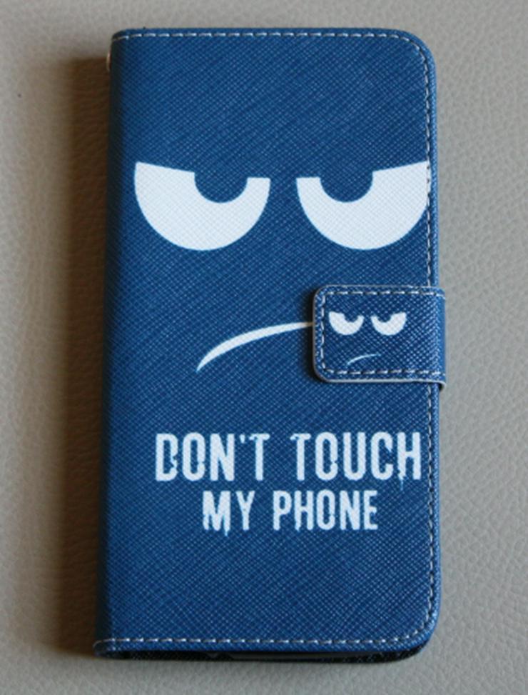 Acer Liquid Z530 Handyhülle Tasche Flip Cover Wallet Case Schutzhülle Bumper Etui Book Style Smartphone blau/weiß NEU