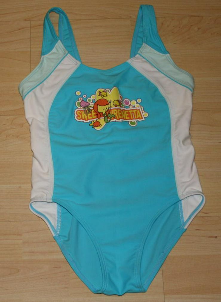 Mädchen Badeanzug Kinder Schwimmanzug Badebekleidung Bademode Swimsuit Einteiler blau/weiß Gr. 128/134