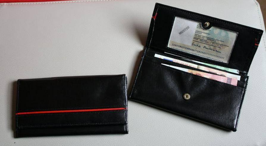 Damen Geldbeutel Geldbörse Portemonnaie Brieftasche Damenbörse Portmonee Frauen schwarz/rot NEU