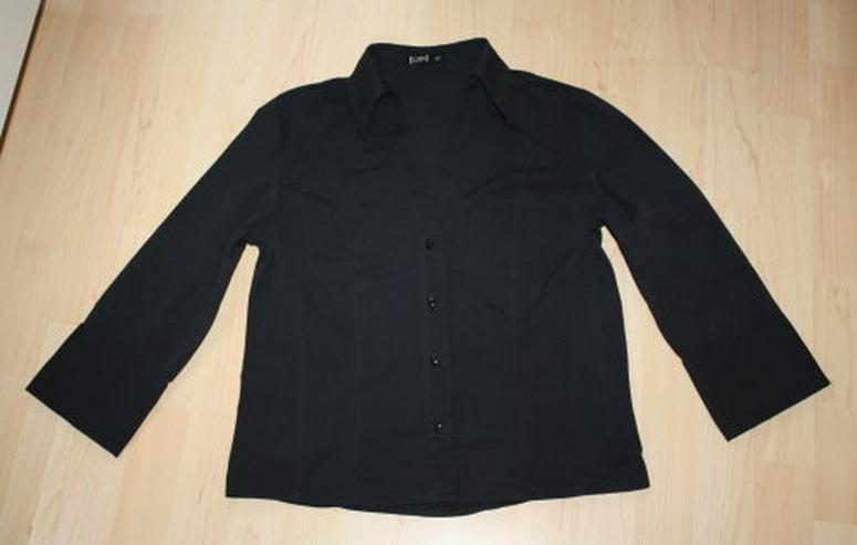Damen 3/4 Arm Bluse Kurzarm Hemd V-Ausschnitt 3/4 Ärmel Baumwolle klassisch elegant kurzärmelig schwarz Gr. 40 M